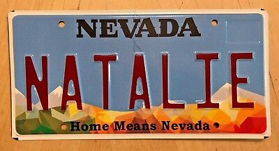 "Nevada  Vanity License Plate  "" Natalie "" Nat Wood Natalia"