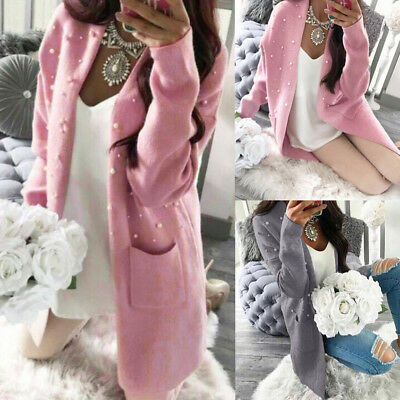 Women Winter Baggy Cardigan Coat Long Chunky Knitted Oversized Sweater Jumper US