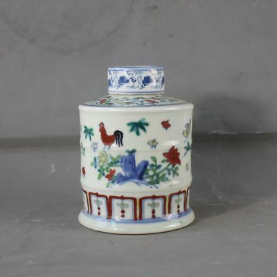 Collection chinese Ming Dynasty rare handwork  porcelain tea caddy