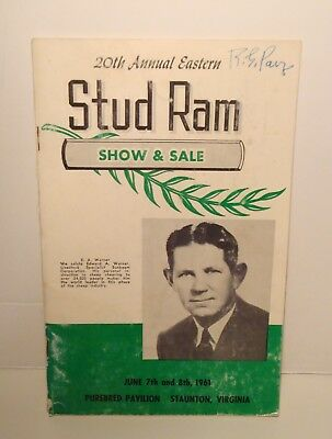 1961 Eastern Stud Ram Show Sale Program-Ewe Lambs Sheep Yearling-Staunton VA
