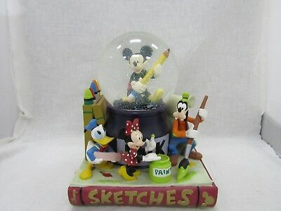 Disney Sketches Mickey & Friends Musical Mickey Mouse Club March Snow Globe