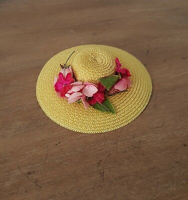 HTF Vintage 1950's Madame Alexander Cissette Yellow Hat with FLOWERS