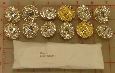 12 Czech thin gold metal buttons covered in larger & small rhinestones 30mm #275