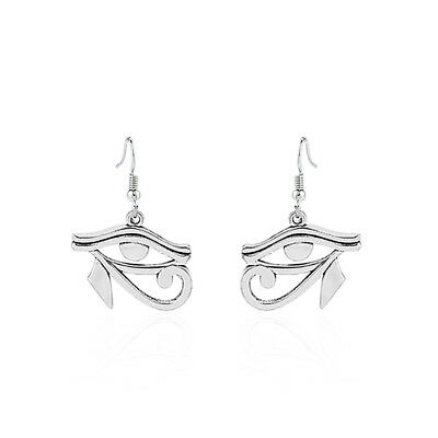 1Pair Antique Silver Tone Egyptian Eye of Horus Ra Pendant Dangle Drop Earrings