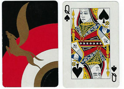 Cardini Peau Doux original playing card/throw out card-Queen of Spade-ca1930s-Op