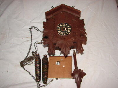 Vintage German Germany Cuckoo Clock Wood Case Weights Parts Repair Restore