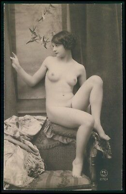 French nude woman seated against the vertical back chair 1920s photo postcard