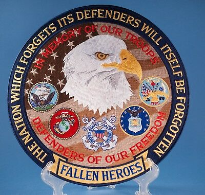 """Fallen Heros 12"""" Patch 9/11 Defenders of Freeom Eagle Memory of Our Troops"""