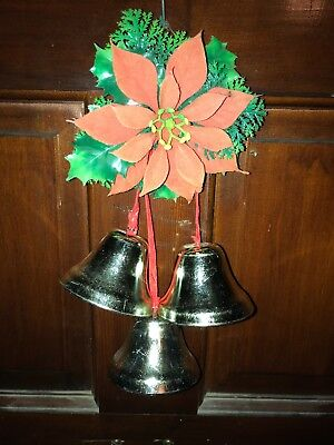 Vintage 60's Christmas Decor (3) Gold Bells (2 inch)  w/ Red Ribbon & Poinsettia