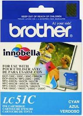 NEW Brother LC51C LC51 Cyan Ink Cartridge Genuine!