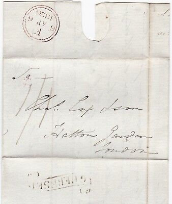 # 1826 LIEUT JAMES BAUGH LETTER >CHAS COX GUERNSEY SCROLL POSTMARK 1/1d POSTAGE