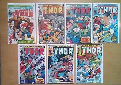 7 ISSUES THOR #258,268,269,287,289,291 + SPECTACULAR #6 MARVEL COMICS 1st PRINTS