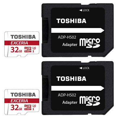 2x 32GB Toshiba Exceria Micro SD SDHC Memory Cards 90MB/s with SD Card Adapters