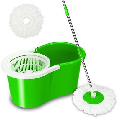 Microfiber Spinning Magic Easy Floor Mop with Bucket 2 Heads 360°Rotating Green