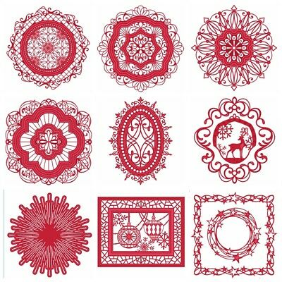 9 Vintage Pattern Metal Cutting Dies DIY Scrapbooking Album Decor Crafts Cards
