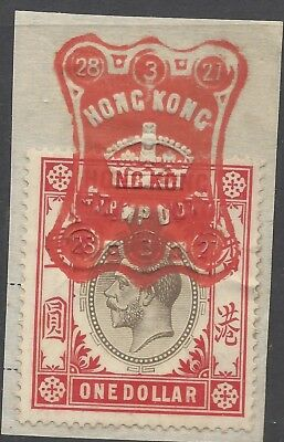 Hong Kong KGV $1 STAMP DUTY ON PIECE, FULL RED CANCEL 28/3/27 (a)