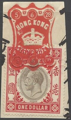 Hong Kong KGV $1 STAMP DUTY ON PIECE, FULL RED CANCEL 5/6/28 (b)