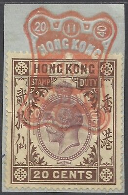 Hong Kong KGV 20c STAMP DUTY ON PIECE, FULL RED CANCEL 20/11/40 (b)