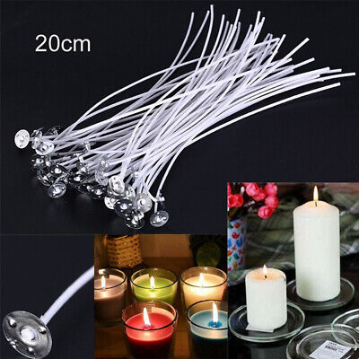 50Pcs 20cm Candle Wicks Waxed Wick Tabs Low Smoke Sustainer Cotton Core Holder