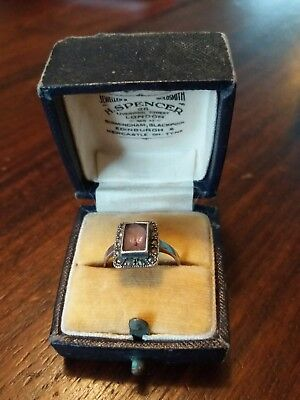 Old vintage antique art deco style silver 925 ring purple stone in box