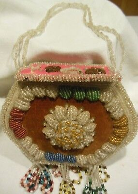 Antique 1900 Beaded American Indian Tourist Whimsey Bag Purse