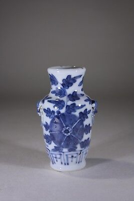 Antique Chinese Blue & White Porcelain Miniature Baluster Vase