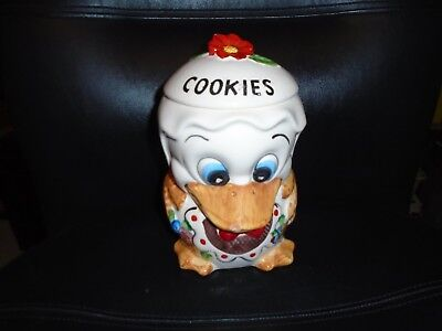 Vintage 1970's Made In Brazil Hand Painted Duck With Flowers Ceramic Cookie Jar