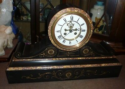 Very Impressive Large Victorian Marble+Slate Visable Escapement Drum Head Clock