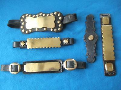 Collection Of Antique Heavy Horse Harness Hame Plates, Brass & Leather