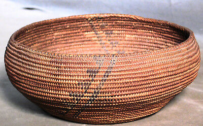 Antique Native American Indian Coil Basket Painted Decoration 1910 UNTOUCHED CA