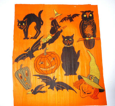 Vintage Halloween Crepe Section Packed With Hallowe'en Imagery, Very Bright Bold
