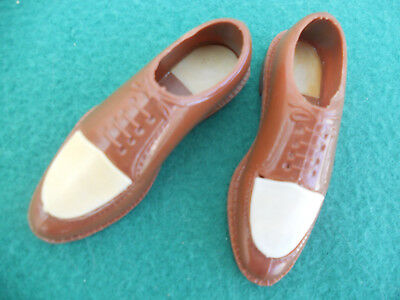 Vtg Miniature Salesman Sample Plastic Men's Brown/White Shoes Hong Kong
