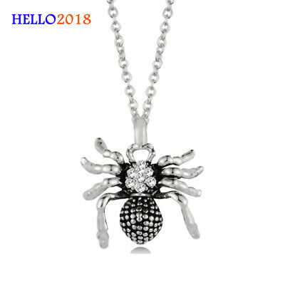 Antique Silver Plated Rhinestone Spider Pendant Necklace For Women Halloween