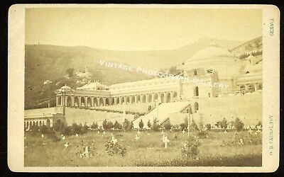 Antique CDV Photo Campo Santo Ancient Cemetery Pisa Italy 19th Century