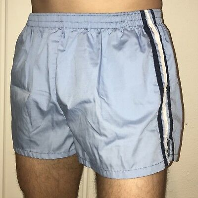 Vtg 70s 80s Blue Striped CASTAWAYS Athletic Track Shorts Mens LARGE Swim trunks