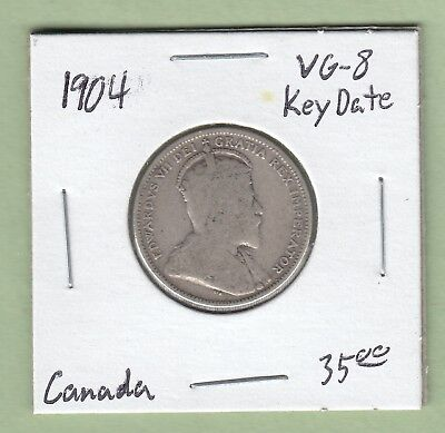 1904 Canadian 25 Cents Silver Coin - Key Date - VG