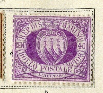 SAN MARINO; 1877 Scarce early classic issue fine Mint hinged 40c. value