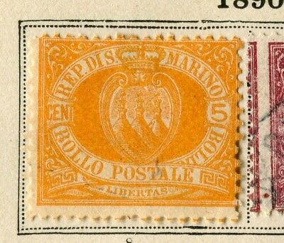 SAN MARINO; 1890 early classic issue fine Mint hinged 5c. value