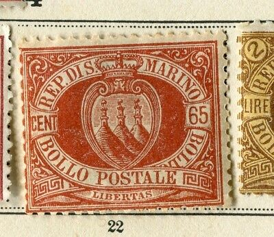 SAN MARINO; 1894 early classic issue fine Mint hinged 65c. value