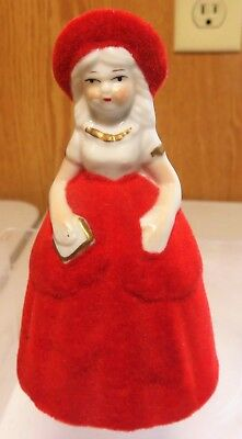 Vintage Small Bell Porcelain Victorian Lady Figurine Red Velveteen Dress W/ Hat