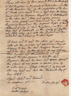 1785 Deed for Land in Wentworth, New Hampshire