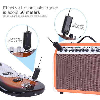 Wireless Audio Transmitter Receiver System for Guitar Bass Violin C3Z9