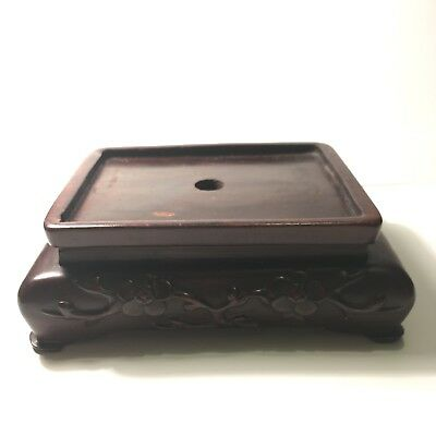 Antique Chinese Hand Carved Wooden Vase Stand (Marked and Signed on Bottom)