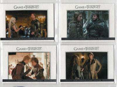 Game Of Thrones - Lot of 4 different Relationships chase cards NM Rittenhouse