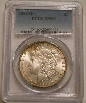 1898 O Morgan Silver Dollar PCGS MS 63 subtle Rainbow TONES