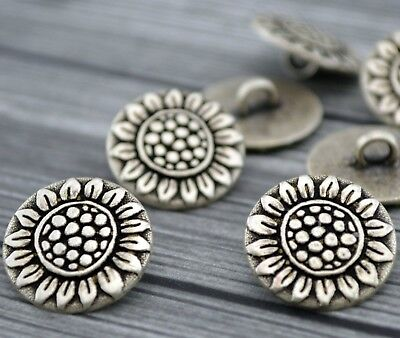 """Sunflower Metal Buttons Antique Silver Qty 4 to 24, Flower Clothing Clasps 5/8"""""""