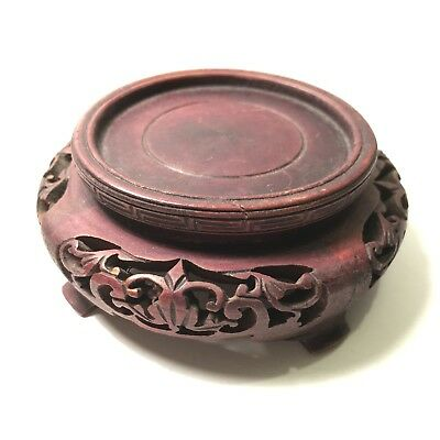 Beautiful Antique Carved Chinese Red / Brown Wooden Vase Stand - 1.375 x 2.75 in