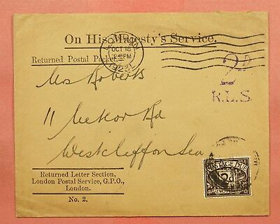 1923 Gb Ohms London Returned Postal Packet Postage Due