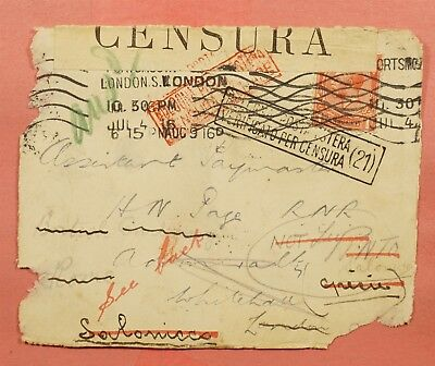1916 Gb Front Portsmouth To Greece Forwarded Wwi Censored