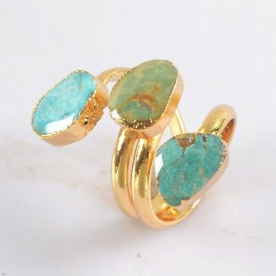 Size 5.5 Natural Genuine Turquoise Adjustable Ring Gold Plated H124237